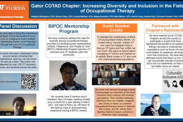 Gator COTAD Chapter: Increasing Diversity and Inclusion in the Field of Occupational Therapy Poster