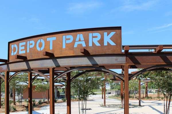 Depot Park entrance sign