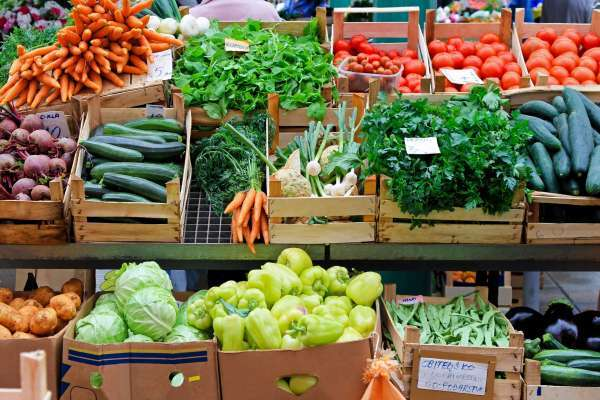 variety of vegetables at farmers market