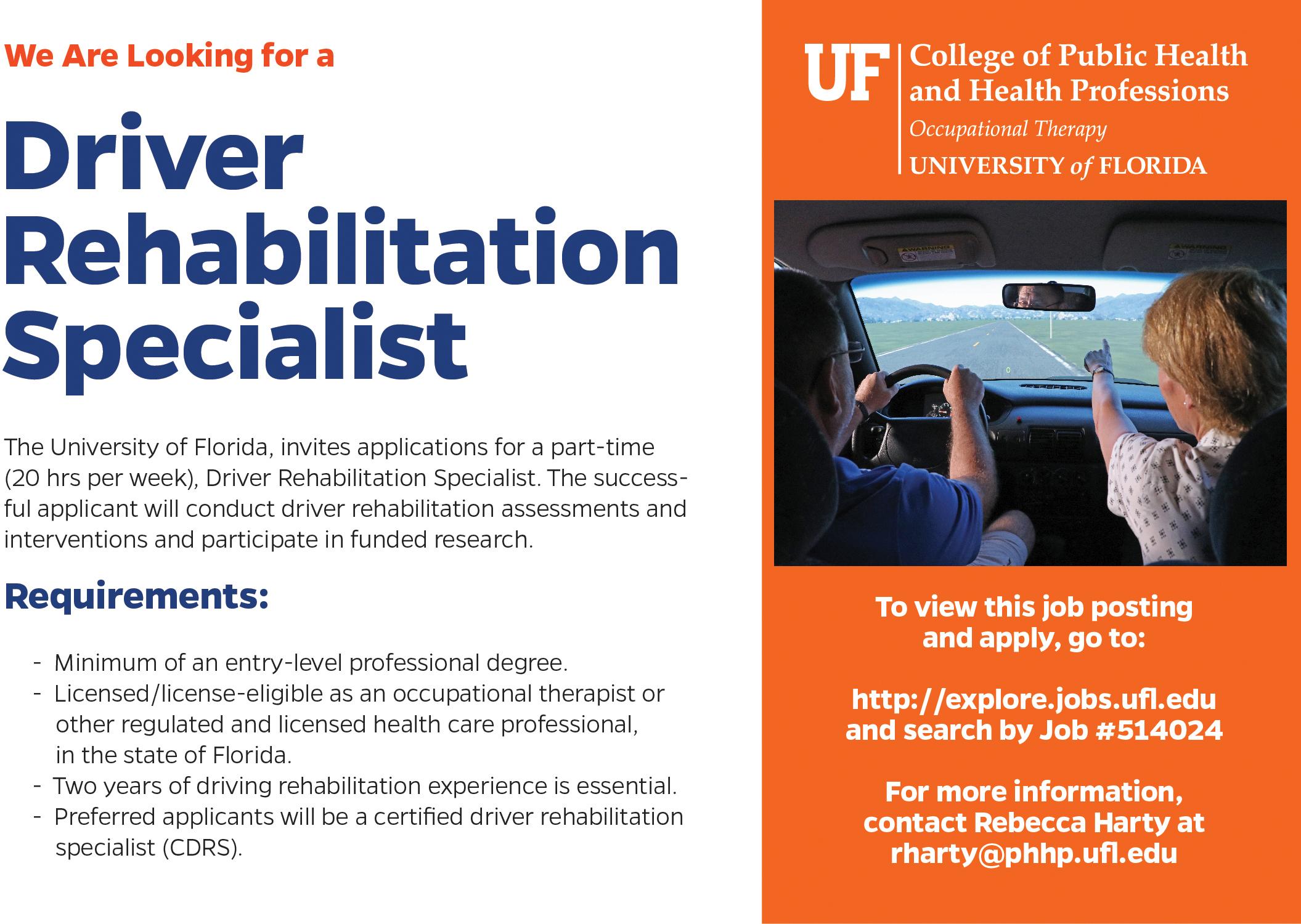 Driver Rehabilitation Specialist part-time job ad