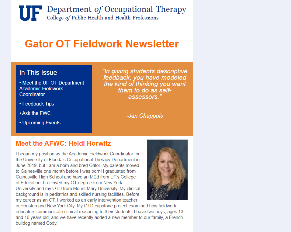 UF OT Fieldwork Newsletter sample